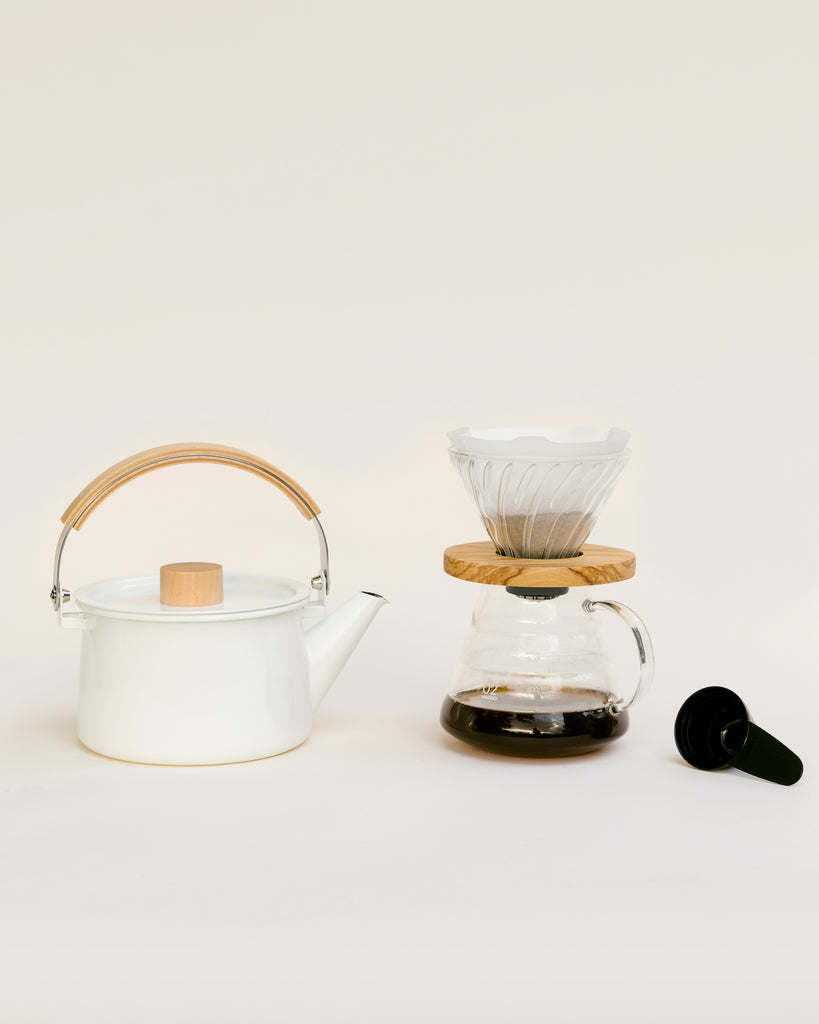 The Canyon Set Up with Olivewood Dripper and Coffee Kettle