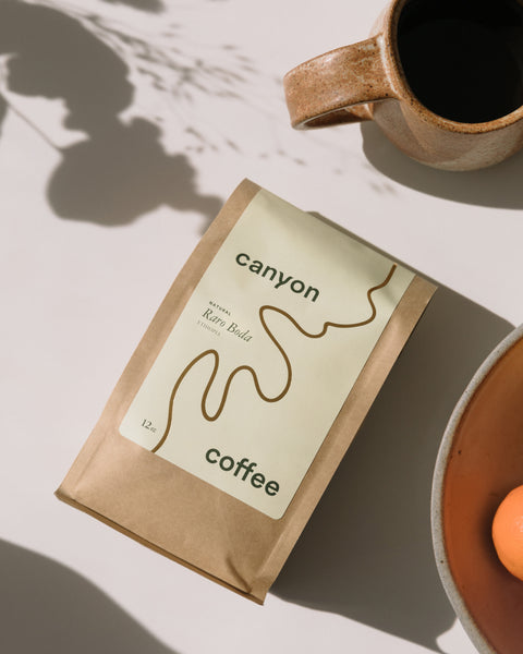 A 12oz bag of Canyon Coffee's Raro Boda, a natural coffee from Ethiopia.