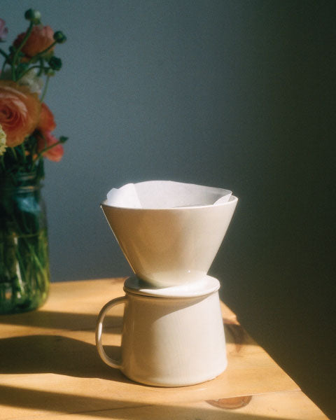 White ceramic Zizi Pour Over set, made by and in Santa Fe. Photo by Drew Escriva.