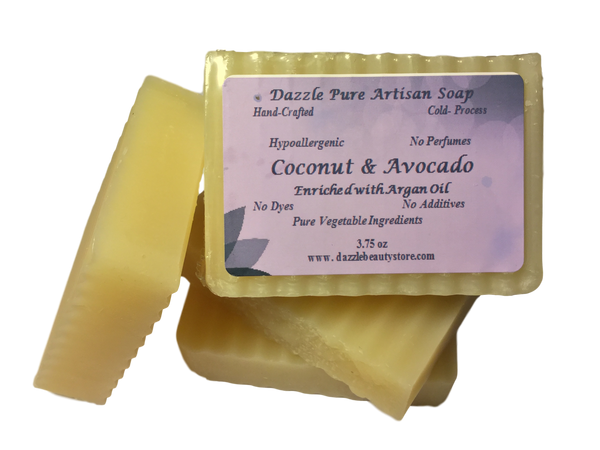 Pure Artisan Avocado Coconut Oil Soap Bar - Unscented Avocado Bar w/ Argan oil