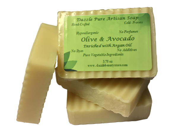 Pure Artisan Avocado and Natural Olive Oil Soap w/ Argan Oil - Olive soap bar, argan oil soap bar