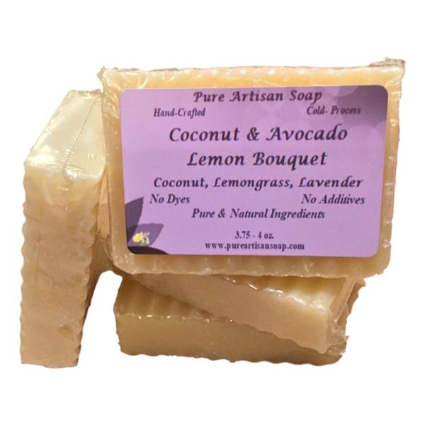 Pure Artisan lavender lemongrass avocado coconut oil soap bar