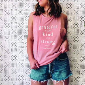 Grateful Heart Tank Top in Mauve