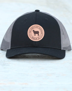 """The Lord Is My Shepherd"" Leather Patch Baseball Cap in Black/Gray"