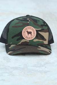 """The Lord Is My Shepherd"" Leather Patch Baseball Cap in Camo"
