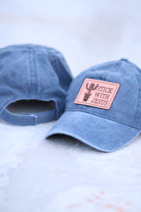 """Stick with Jesus"" Leather Patch Baseball Cap in Denim"