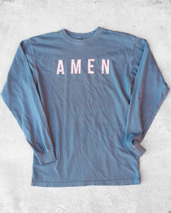AMEN long sleeve tee in blue