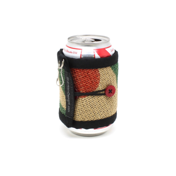 Adjustable Cozy Red Cherry Green Leaves Red Buttons on Can