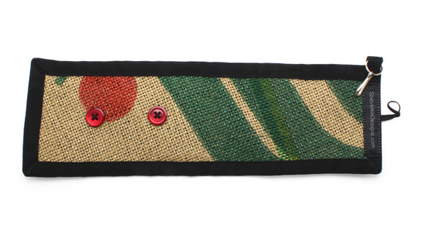 Adjustable Cozy Red Cherry Green Leaves Red Buttons Flat Lay Front