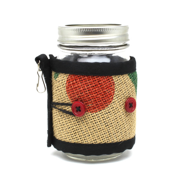 Adjustable Cozy Red Cherry Green Leaves Red Buttons on Mason Jar