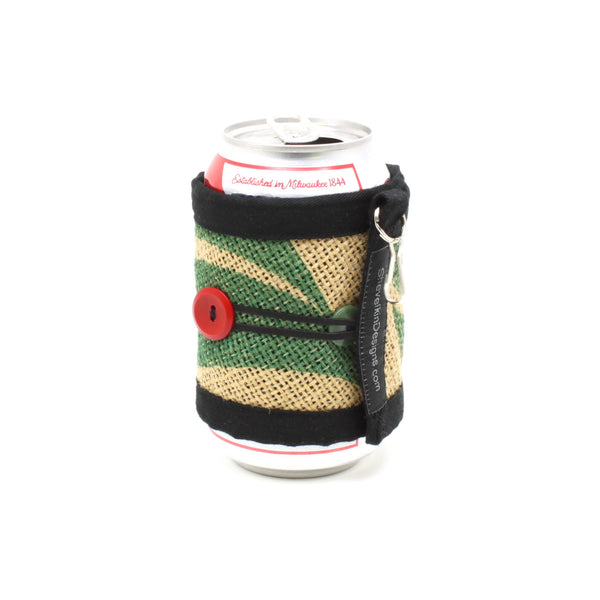Adjustable Burlap Cozy Green Leaf with Red and Green Button on Can