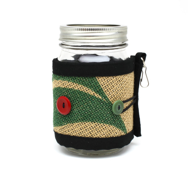Adjustable Burlap Cozy Green Leaf with Red and Green Button on Mason Jar