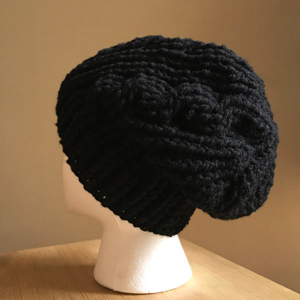 Black Cable Slouchy Beanie Hat flat on head back left