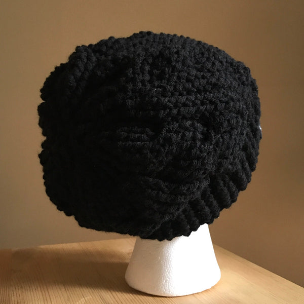 Black Cable Slouchy Beanie Hat flat on head back