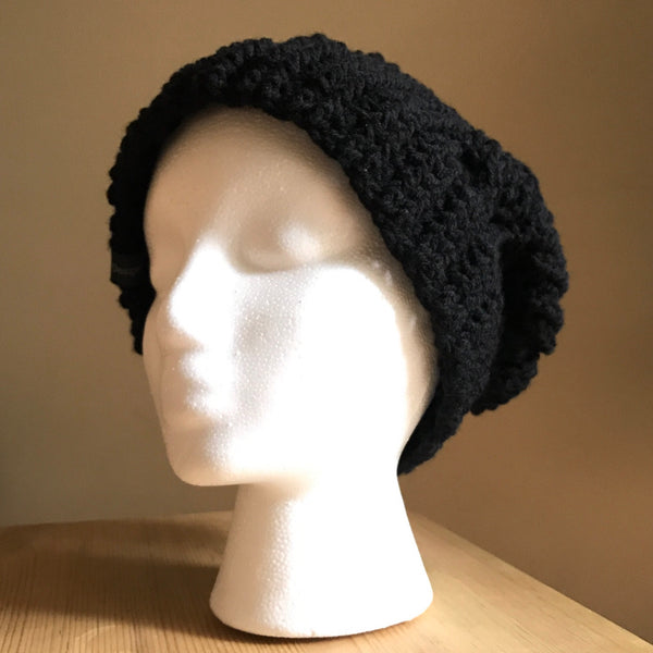 Black Cable Slouchy Beanie Hat flat on head front left