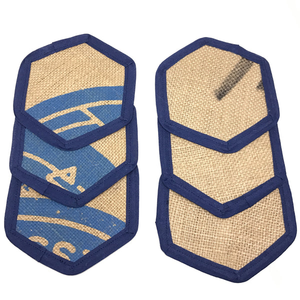 Brew Mat Set Swiss Water Blue Coasters Printed Front and Burlap Back