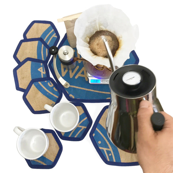 Brew Mat Set Swiss Water Blue with Hand pouring Chemex