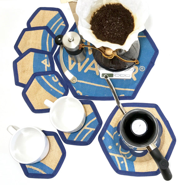 Brew Mat Set Swiss Water Blue Flat Lay with Chemex and Empty Cups