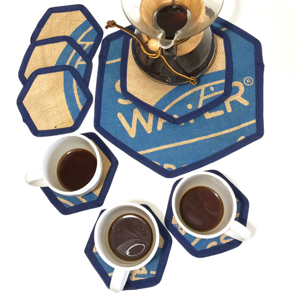 Brew Mat Set Swiss Water Blue with Chemex and Full Mugs