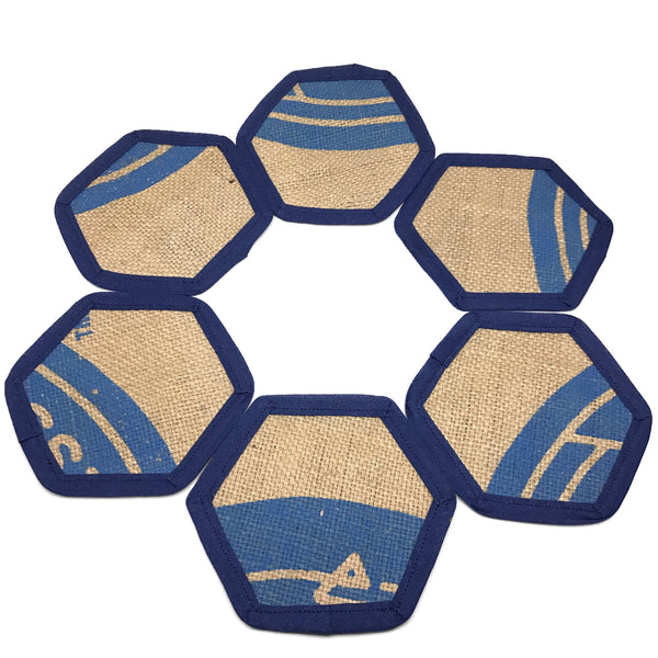 Brew Mat Set Swiss Water Blue Coasters in Circle