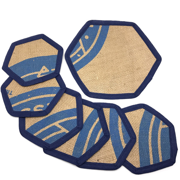 Brew Mat Set Swiss Water Blue Kettle Mat and Coasters