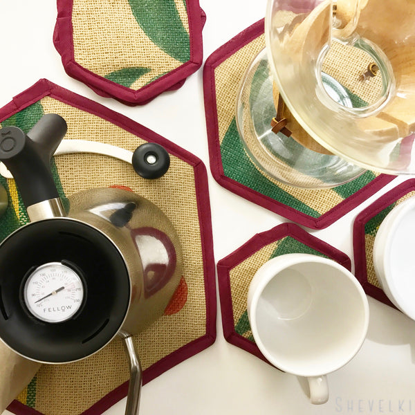 Brew Mat Set Coffee Cherry Flat Lay with Kettle, Chemex, and Cups