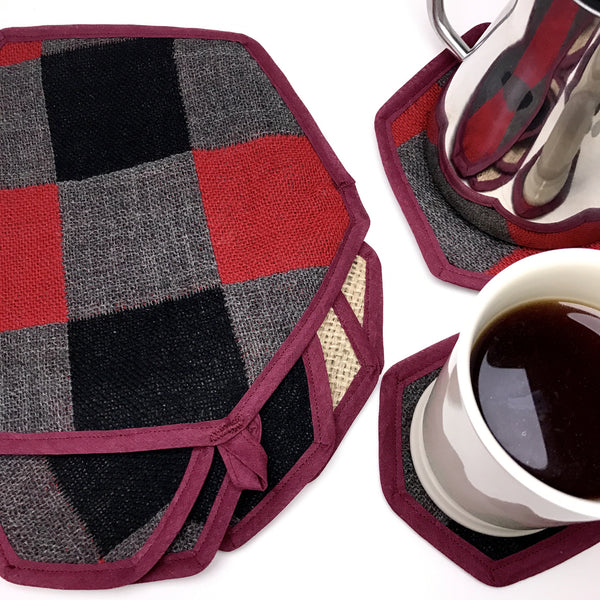 Brew Mat and Coaster Set Plaid Flat Lay with Kettle and Cup