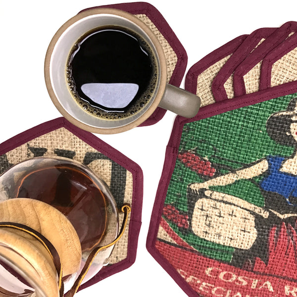 Brew Mat and Coaster Set Costa Rica Romelia Flat Lay with Cup and Chemex