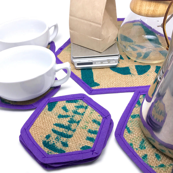 Brew Mat Set Purple and Turquoise Flat Lay Detail with Cups, Chemex, and Kettle