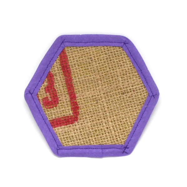 Red Font Burlap with Yellow Fabric Backing and Purple Trim Coaster Individual Photo