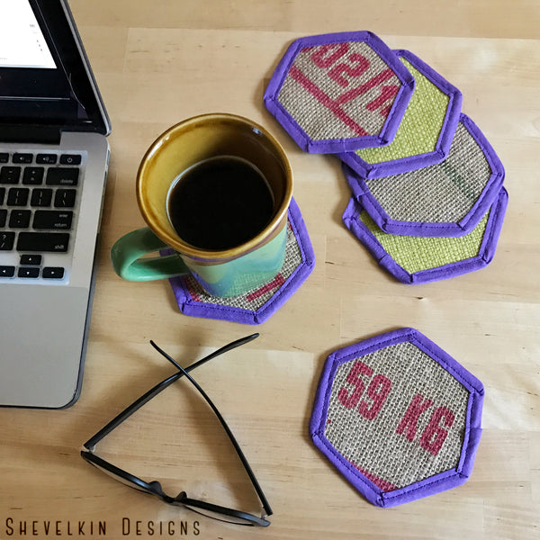 Red Font with Yellow Backing and Purple Trim Coaster Set