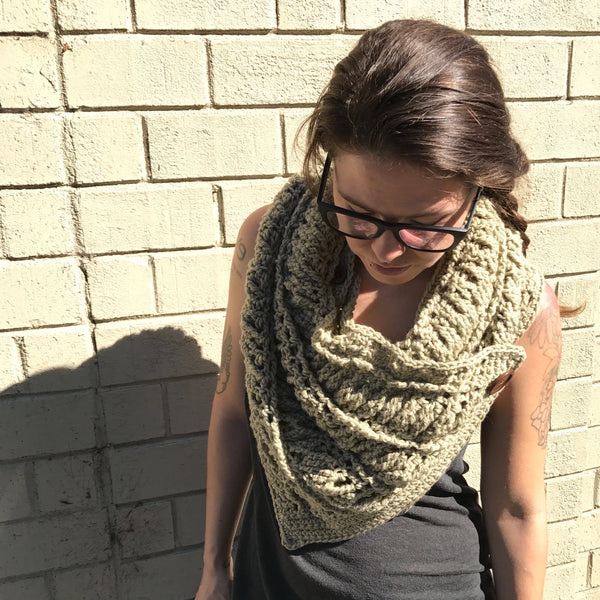 Beige Cowl Button Scarf on Person Front looking down