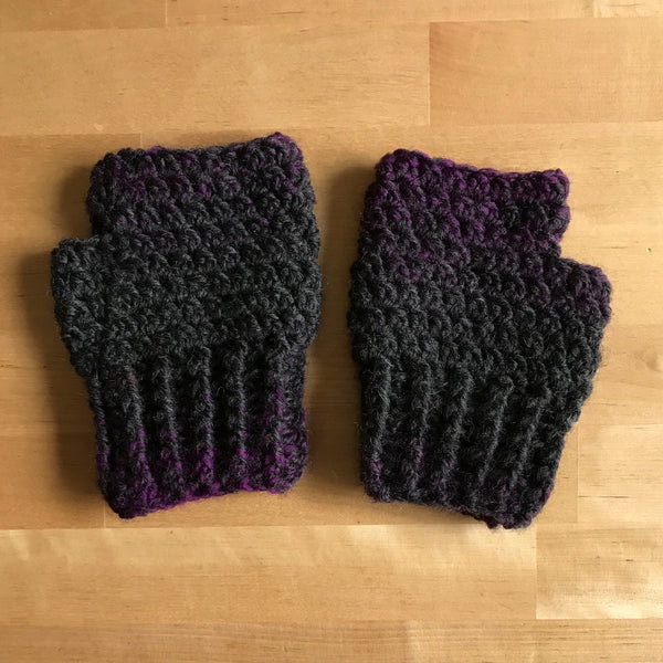 Black and Purple Wool Fingerless Mittens, Inside on Table