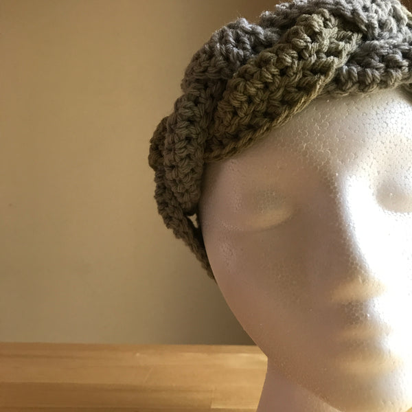 Tan and Gray braided headband, crocheted headband, braided headband, braided ear warmer, on head front view detail