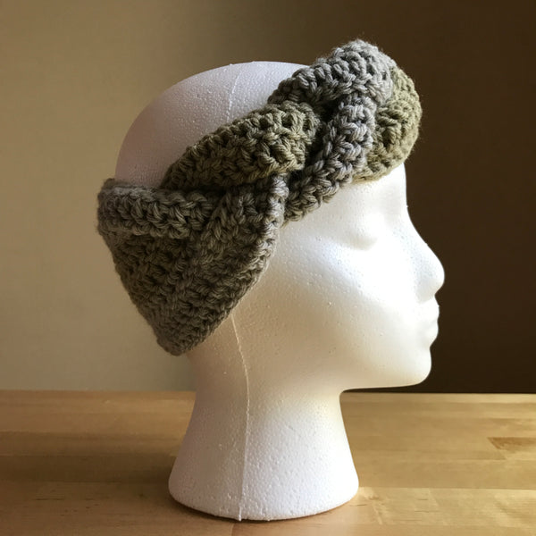 Tan and Gray braided headband, crocheted headband, braided headband, braided ear warmer, on head right