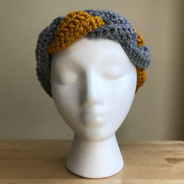 Gray and Mustard yellow, braided headband, braided ear warmer, crocheted headband, fall fashion, fall headband, womens headband, winter headband, on head front
