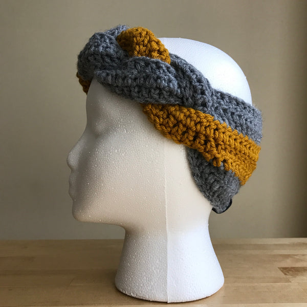 Gray and Mustard yellow, braided headband, braided ear warmer, crocheted headband, fall fashion, fall headband, womens headband, winter headband, on head left