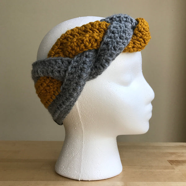 Gray and Mustard yellow, braided headband, braided ear warmer, crocheted headband, fall fashion, fall headband, womens headband, winter headband, on head right