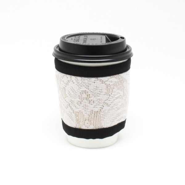 Reusable To Go Cup Cozy, Pint Glass Cozy, Wallet, Keychain, Burlap and Lace