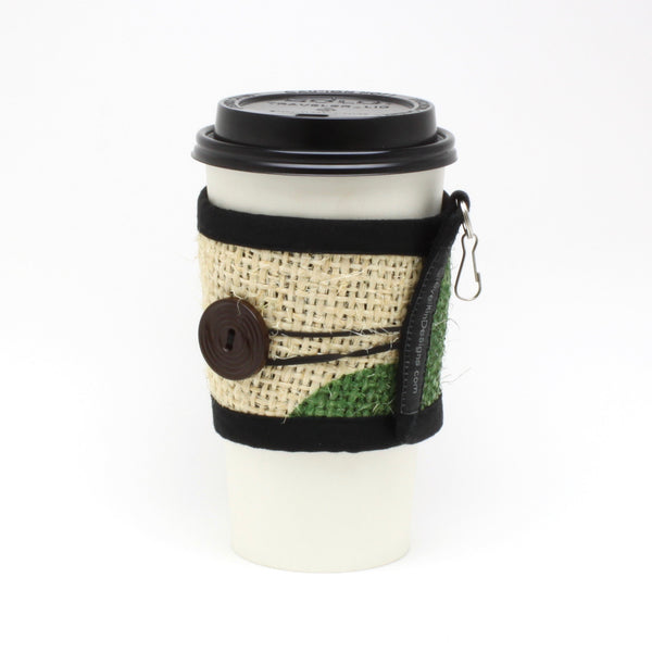 Reusable Burlap To Go Cup Cozy Featuring Green Leaves with Large Brown Button
