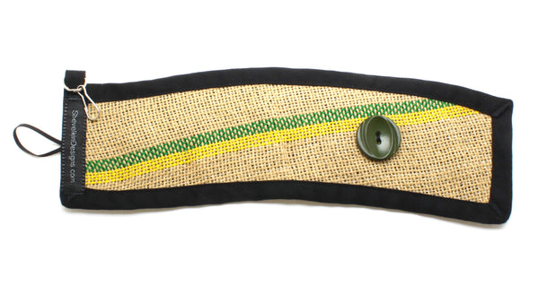 Reusable Burlap To Go Cup Cozy Featuring a Green and Yellow Line with Large Button