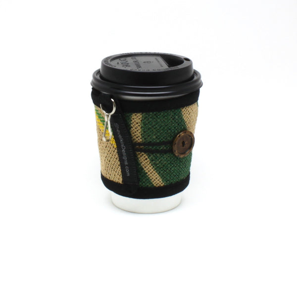 Reusable To Go Cup Cozy, Pint Glass Cozy, Wallet, Keychain, Nature with Metal Button