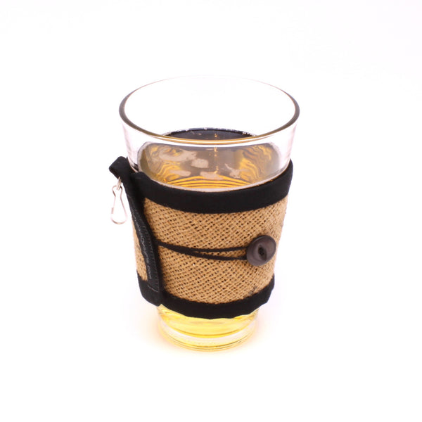 Reusable Black Text and Black Button To Go Cup Cozy, Pint Glass Cozy, Wallet, Keychain