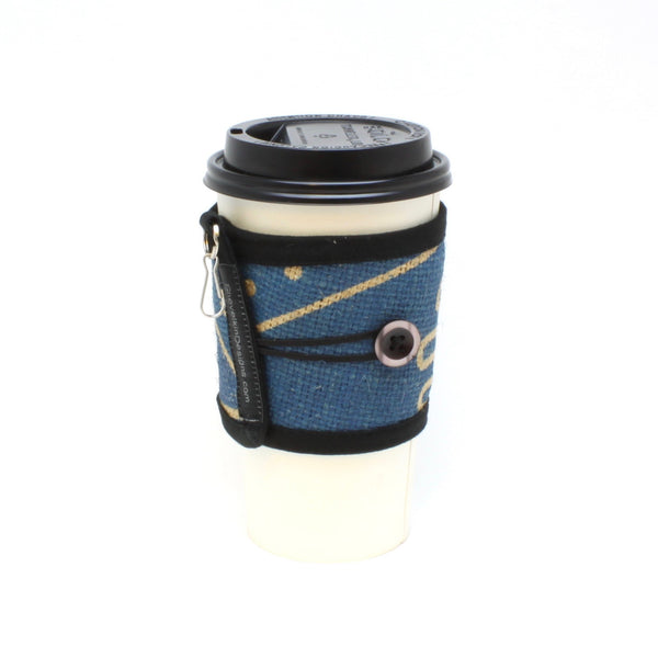 Reusable Burlap To Go Cup Cozy Featuring Swiss Water Blue and Black Pearlescent Button