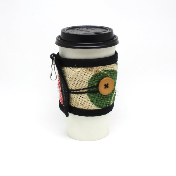Reusable To Go Cup Cozy, Nature w/ Beige Button