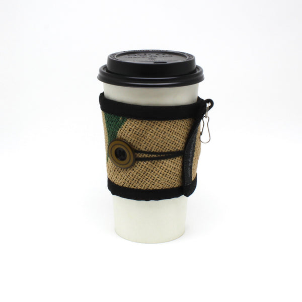 Reusable To Go Cup Cozy Featuring Green Leaves with Large Button