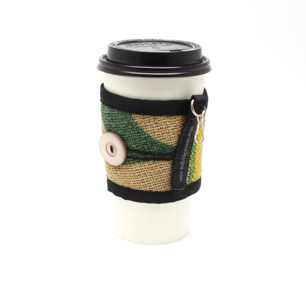 Reusable To Go Cup Cozy, Nature with Pearlescent Button