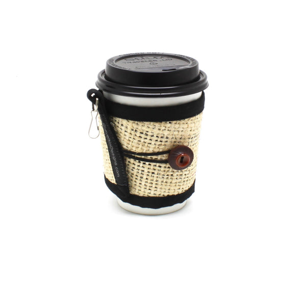 Reusable To Go Cup Cozy Featuring Lines and Red/Brown Button