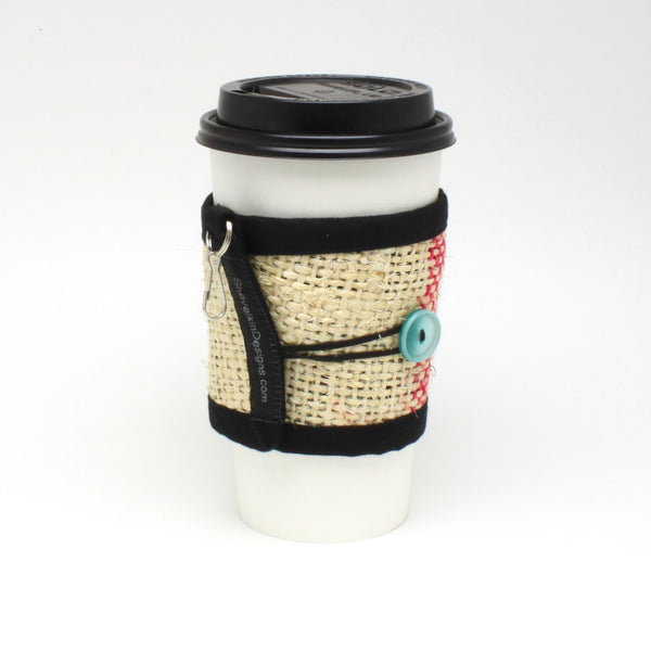 Coffee Cozy for travel or disposable cups with sea foam button and lines on large cup
