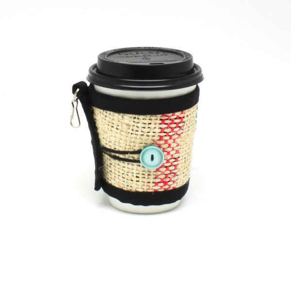Coffee Cozy for travel or disposable cups with sea foam button and lines on small cup front